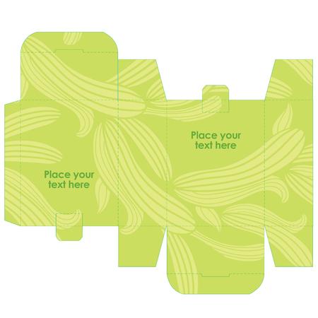 선물 결혼식 호의 상자 템플릿 자연 패턴 - 잔디와 추상적 인 벡터 패턴