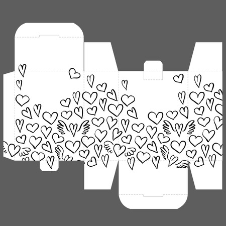 Gift wedding favor die box design template with nature pattern - abstract vector nature pattern with hand drawing hearts