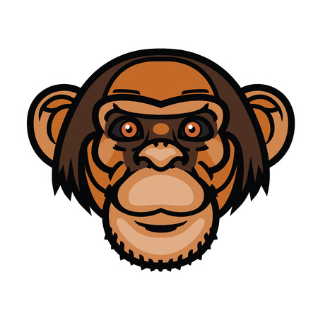 Modern Vector illustration or head logo of monkey head cartoon style for mascot and tattoo or T-shirt graphic