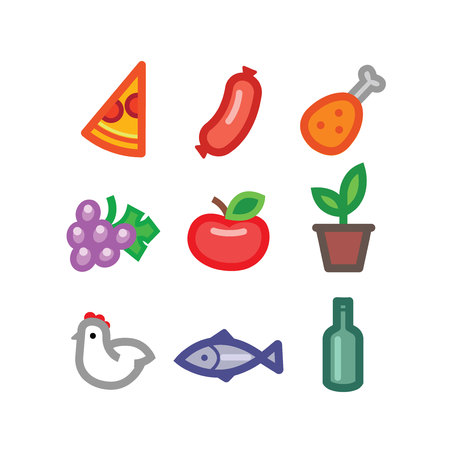 stylized food icons - foods colorful vector flat design set