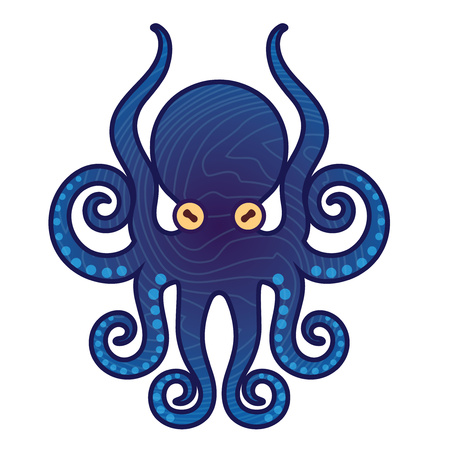 Template for , labels and emblems - Vector illustration of octopus Illustration