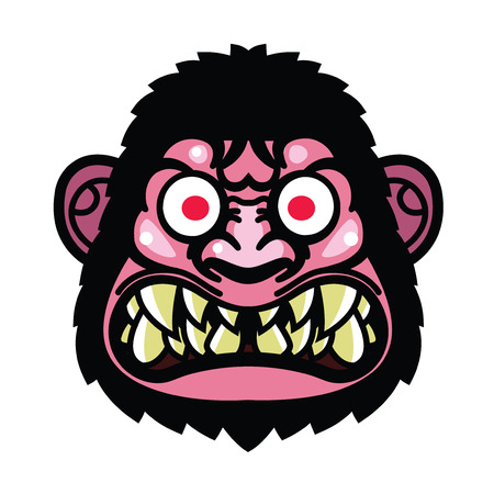 angry monkey head - vector illustration ideal for a mascot and tattoo or T-shirt graphic Illustration