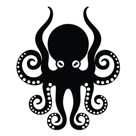 Template for logos, labels and emblems - Vector illustration of octopus