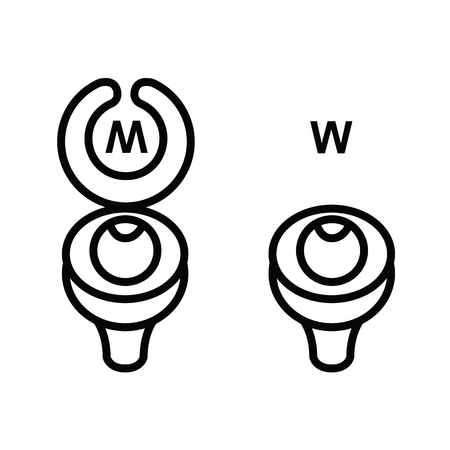 Toilet sign in funny style - toilet door vector symbol
