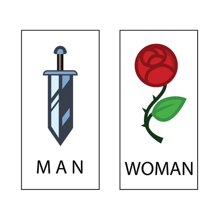 Toilet sign in romantic funny style - toilet door vector symbol
