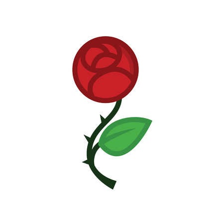 Love rose flat line icon - red flower for Valentines day