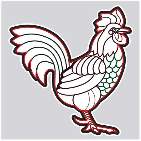 bantam hen: Patterned vector rooster - african indian totem tattoo design for t-shirt bag postcard poster and so on.