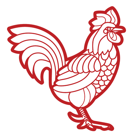 bantam hen: Patterned vector rooster - Symbol of chinese new year - African indian totem tattoo design for t-shirt bag postcard poster and so on.