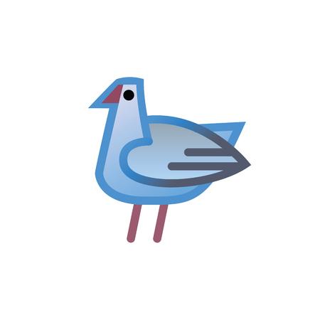 Bird logo design vector template linear style - Dove Pigeon Chicken Seagull Logotype concept icon.