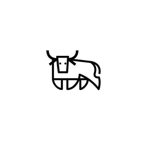 Linear stylized drawing of bull ox or cow - for icon or sign template Ilustrace