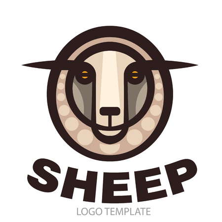 white coat: Colorful stylized drawing head of sheep Illustration
