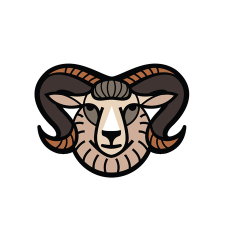 Color stylized drawing head of horned powerful ram