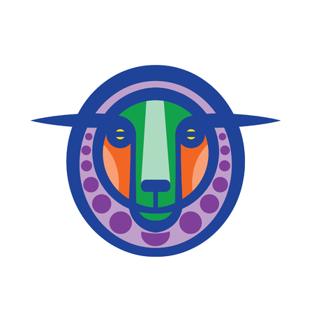 Colorful stylized drawing head of fantasy sheep
