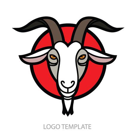 Linear stylized drawing Goats head - stylish portrait for design Illustration