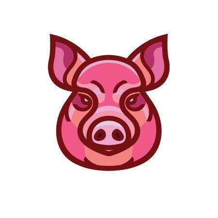Color image of swine or pig head - mascot emblem