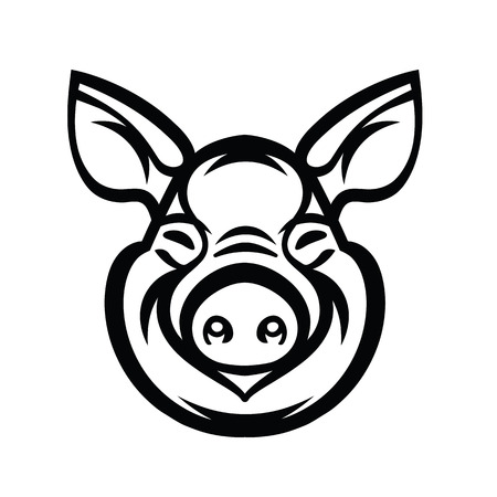 Pig Head Logo Mascot Emblem - vector image of swine head