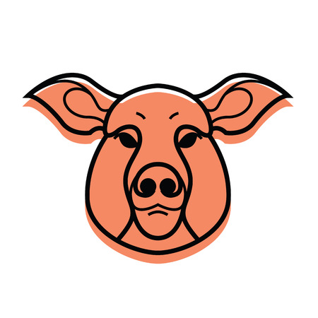 oink: Swine or pig head - mascot emblem