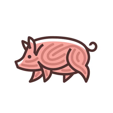 Colorful stylized drawing of pig swine - for icon or sign template Illustration