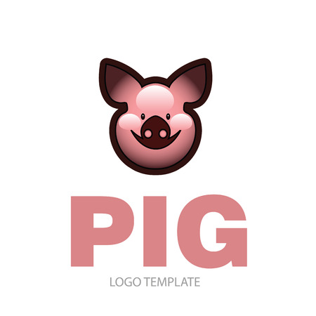 Cute cheerful smiling pink pig - icon or sign logo template Çizim