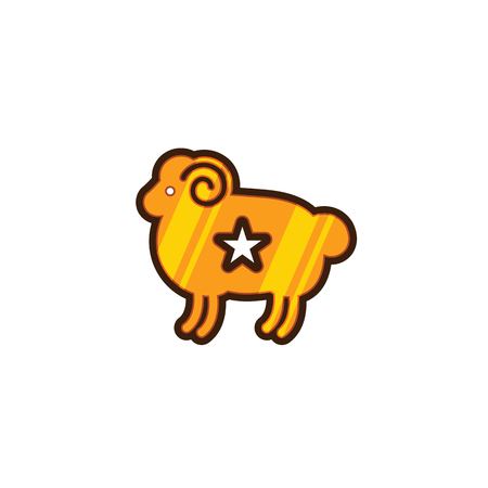Color stylized drawing of ram - for icon or sign template