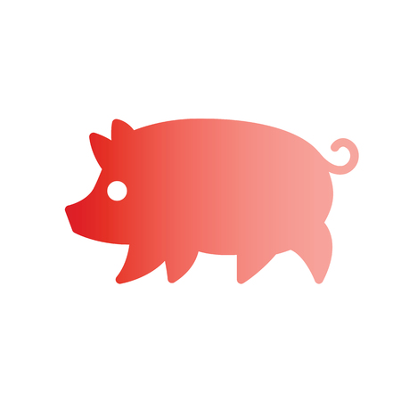 Gradient silhouette stylized drawing of pig swine - for icon or sign template