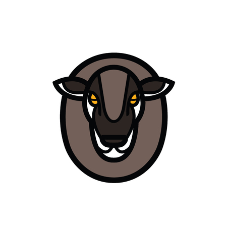 Colorful stylized drawing head of sheep Illustration