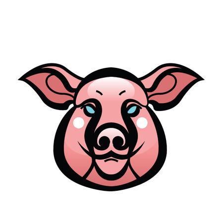 oink: Color image of swine or pig head - mascot emblem