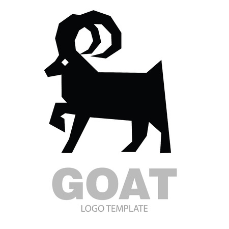 Silhouette stylized drawing goat or nanny - for icon or sign template Illustration
