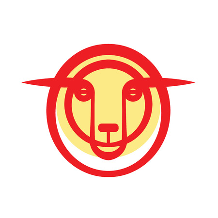 Bright stylized drawing head of golden sheep
