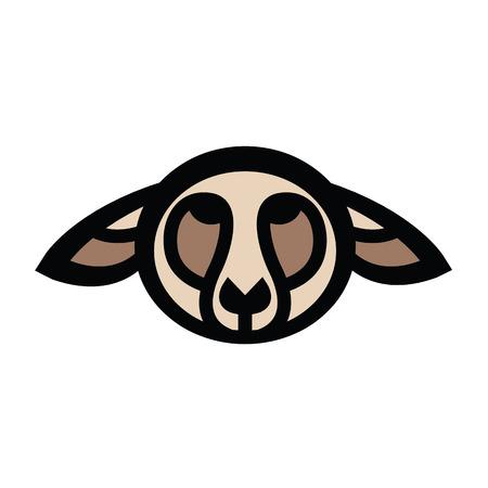 Colorful stylized drawing head of sheep Ilustração