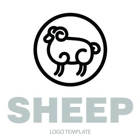 Linear stylized drawing of ram - for icon or sign template Ilustração