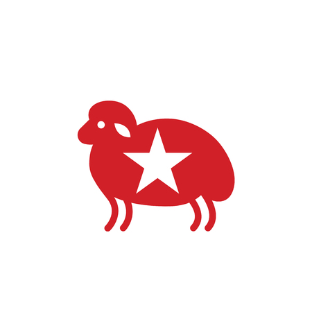 Color sheep stylized icon or sign template