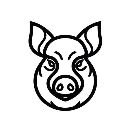 Image of swine or pig head - mascot emblem Illustration