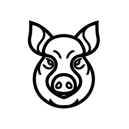 Image of swine or pig head - mascot emblem Illustration