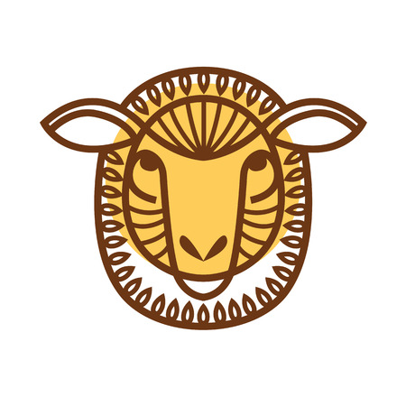 A vector illustrated Portrait of Ram or sheep face.