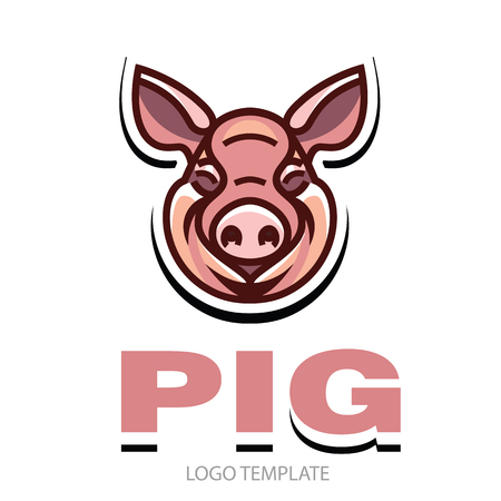Funny smiling pink pig - icon or sign logo template