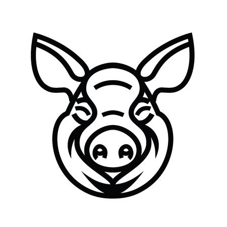 omnivorous: Pig Head Logo Mascot Emblem - vector image of swine head.