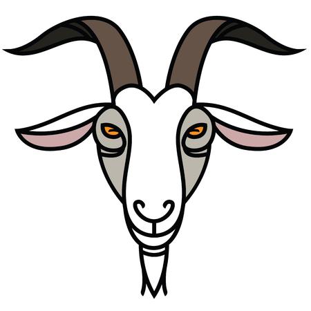 線形の様式化された図面の山羊の頭に-デザインのスタイリッシュな肖像画