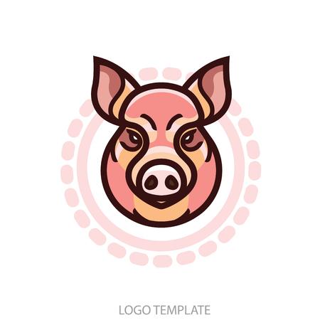 豚や豚の頭 - マスコット エンブレムのベクトル画像  イラスト・ベクター素材