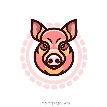 rooting: vector color image of swine or pig head - mascot emblem
