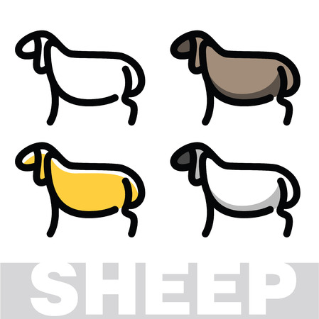 Color stylized drawing of sheep or ram - for icon or sign template