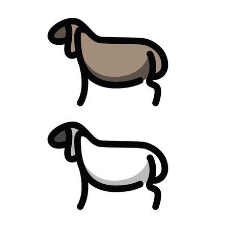 domesticated: Linear stylized drawing of sheep or ram - for icon or sign template