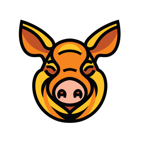 Pig head mascot emblem - vector image of swine head