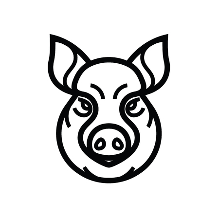豚や豚の頭 - マスコット エンブレムのベクター画像。