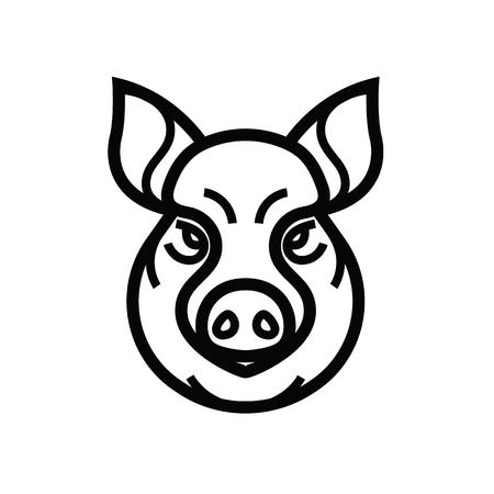 A vector image of swine or pig head - mascot emblem.