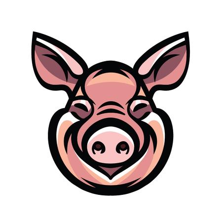 omnivorous: Pig head mascot emblem - vector image of swine head