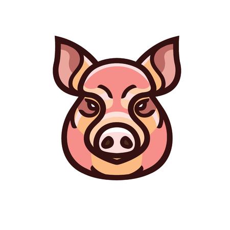 A vector color image of swine or pig head - mascot emblem.