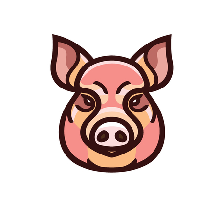 A vector color image of swine or pig head - mascot emblem.