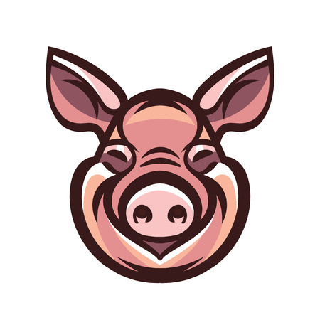 Funny smiling pink pig - icon or sign logo template mascot emblem