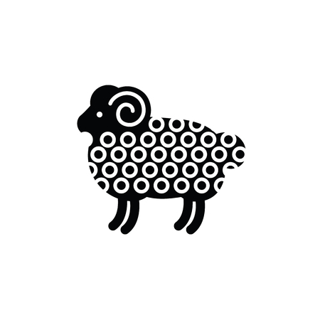 Linear stylized drawing of ram - for icon or sign template Illustration